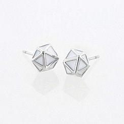 STORM - Ladies silver enamel geo earrings