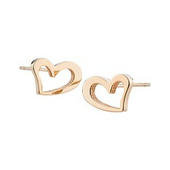 STORM - Ladies rose gold steel heart earrings
