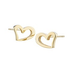 STORM - Ladies gold steel heart earrings