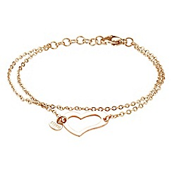 STORM - Ladies rose gold steel heart bracelet