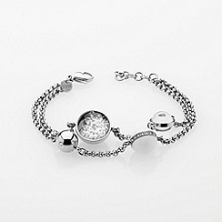 STORM - Ladies silver crystal glass bead steel bracelet