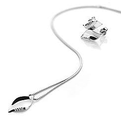 Hot Diamonds - Pave leaf silver set