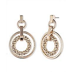 Anne Klein - Gold double hoop drop earring