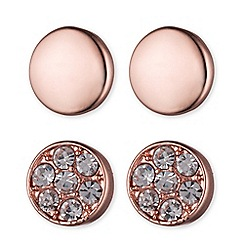 Anne Klein - Rose gold pave stud earrings
