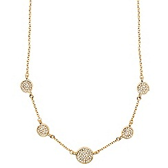 Anne Klein - Gold circle and pave necklace
