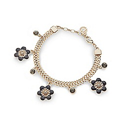 Pilgrim - Gold plated flower and stone chain bracelet