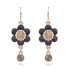 Pilgrim - Gold plated flower drop earrings