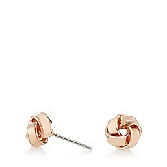 Pilgrim - Rose gold plated rose knot stud earrings