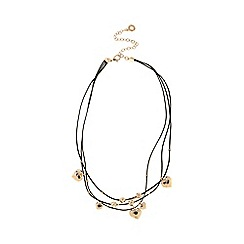 Pilgrim - Rose gold plated hearts triple cord necklace