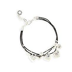 Pilgrim - Silver plated hearts triple cord bracelet