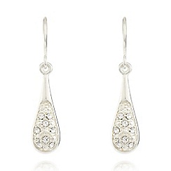 Pilgrim - Silver plated pave baton drop earrings