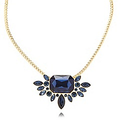 Pilgrim - Gold plated chain blue stone flower necklace