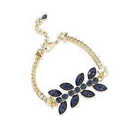Pilgrim - Gold plated blue stone floral bracelet