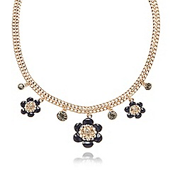 Pilgrim - Gold plated double link chain flower necklace