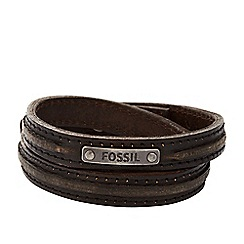 Fossil - Gents brown leather thin double wrap cuff