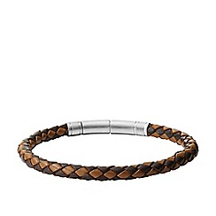 Fossil - Gents dark and light brown woven leather bracelet