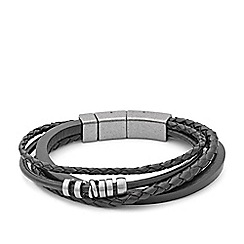Fossil - Gents black multi wrap bracelet