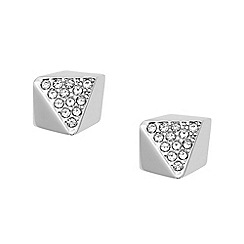 Fossil - Ladies silver pyramid shaped studs