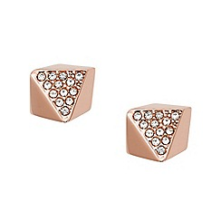 Fossil - Ladies rose gold pyramid shaped studs