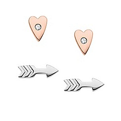 Fossil - Ladies silver/rose gold arrow shaped earring