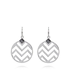 Fiorelli - Silver plated zig zag disc earrings