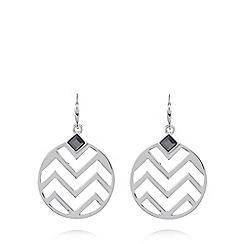 Fiorelli - Silver plated zig zag disc earrings