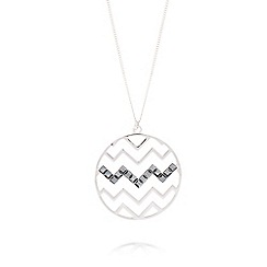 Fiorelli - Silver plated zig zag disc necklace