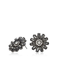 Fiorelli - Crystal gunmetal flower stud earrings