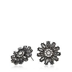 Fiorelli - Crystal gunmetal flower stud earrings