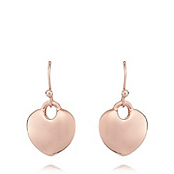 Fiorelli - Rose gold plated drop heart earrings