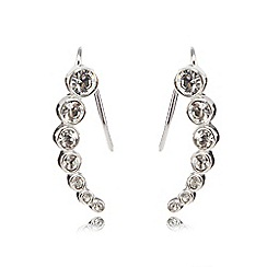 J by Jasper Conran - Silver diamante climber earrings