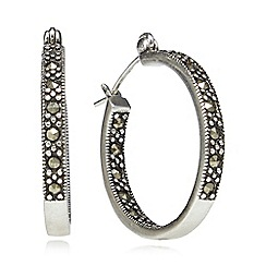 No. 1 Jenny Packham - Sterling silver marcasite hoop earrings