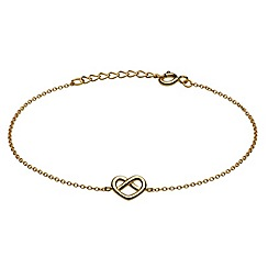 Dew - Sterling silver with gold plate crossed heart bracelet