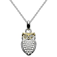 Dew - Sterling silver owl with gold plate necklace
