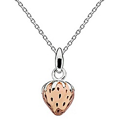 Dew - Sterling silver with rose gold plated 3d strawberry necklace