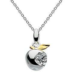 Dew - Sterling silver gold plated 3d apple necklace