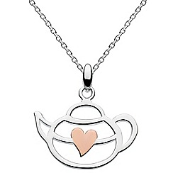 Dew - Sterling silver rose gold heart teapot necklace