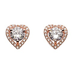 Dew - Sterling silver and cubic zirconia rose gold heart stud earrings