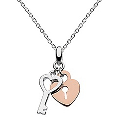 Dew - Sterling silver and rose gold lock & key necklace