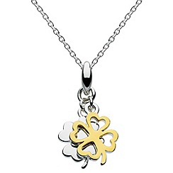 Dew - Sterling silver and gold plated double clover necklace