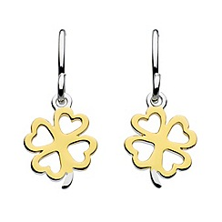 Dew - Sterling silver and gold plated clover drop earrings