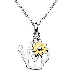 Dew - Sterling silver and gold plated flower & watering can necklace