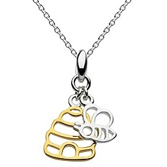 Dew - Sterling silver and gold plated hive & bee necklace