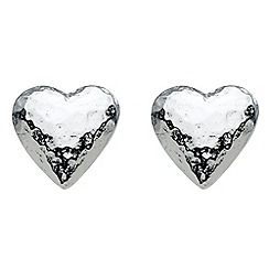 Dew - Sterling silver hammered heart studs