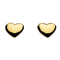 Dew - Sterling silver and gold plate solid heart stud earrings