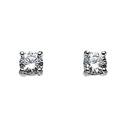 Dew - Sterling silver and cubic zirconia claw set stud earrings