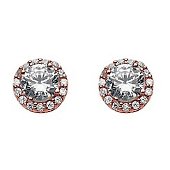 Dew - Sterling silver and rose gold with cubic zirconia cluster stud earrings