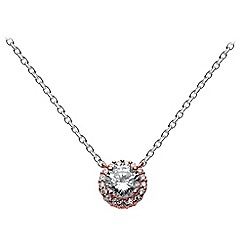 Dew - Sterling silver and rose gold with cubic zirconia cluster necklace