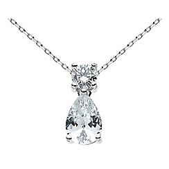 Dew - Sterling silver round and pear cubic zirconia necklace