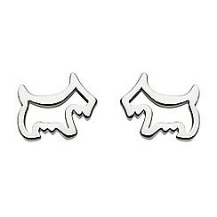 Dew - Sterling silver scotty dog stud earrings